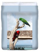 Red And Green Parrots Duvet Cover