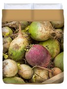 Red And Green Radishes Duvet Cover