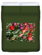 Red And Purple Tulips Duvet Cover