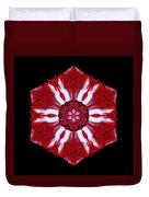Red And White Amaryllis Iv Flower Mandala Duvet Cover
