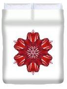 Red And White Amaryllis Vii Flower Mandala White Duvet Cover