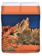 Red And White Desert Towers Duvet Cover