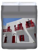 Red And White In Mykonos Duvet Cover