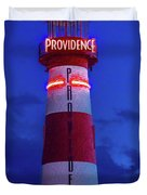 Red And White Lighthouse Shows Neon Duvet Cover