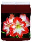 Red And White Amaryllis Duvet Cover