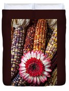 Red And White Mum With Indian Corn Duvet Cover