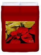 Red And White Poinsettias Duvet Cover