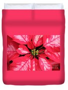 Red And White Poinsettia Duvet Cover