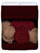 Red And White Roses Color Engraved Duvet Cover