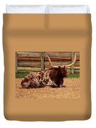 Red And White Texas Longhorn Duvet Cover