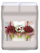 Red And White Tulip And Rose Wedding Bouquets Duvet Cover