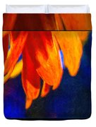 Red And Yellow Bloom In A Blue Paradise Duvet Cover