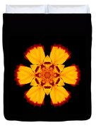 Red And Yellow Marigold II Flower Mandala Duvet Cover