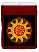 Red And Yellow Marigold V Flower Mandala Duvet Cover