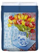 Red And Yellow Tulips In A Copeland Jug Duvet Cover by Joan Thewsey