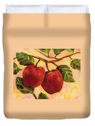 Red Apples On A Branch Duvet Cover