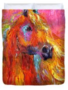 Red Arabian Horse Impressionistic Painting Duvet Cover