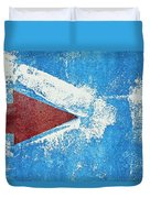 Red Arrow Painted On Blue Wall Duvet Cover