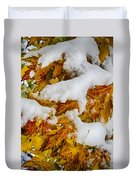 Red Autumn Maple Leaves With Fresh Fallen Snow Duvet Cover