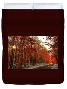 Red Autumn Road In Snow Duvet Cover
