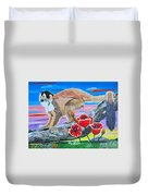 Red Backed Squirrel Monkey Base On A Photo By Larry Linton Duvet Cover