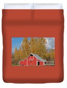 Red Barn And Fall Colors Duvet Cover