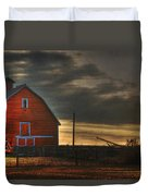 Red Barn At Dawn Duvet Cover