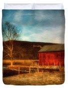 Red Barn At Twilight Duvet Cover