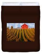 Red Barn In Autumn Vineyards Duvet Cover