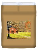 Red Barn In Late Fall Duvet Cover