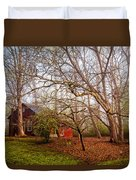 Red Barn In The Smokies Duvet Cover