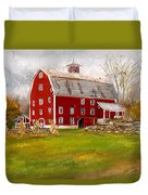 Red Barn In Woodstock Vermont- Red Barn Art Duvet Cover