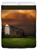 Red Barn Stormy Sky - Rustic Dreams Duvet Cover