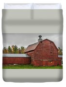 Red Barn With Fall Colors Duvet Cover