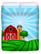 Red Barn With Grain Silo On Green Pasture Illustration Duvet Cover