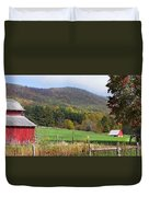 Red Barns And Mountains Duvet Cover