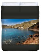 Red Beach Santorini Duvet Cover