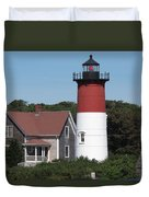 Red Beacon On Nauset Light Duvet Cover
