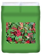 Red Berries And Green Leaves Duvet Cover
