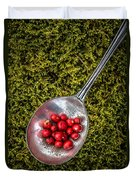Red Berries Silver Spoon Moss Duvet Cover by Edward Fielding