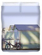 Red Bicycle At Mondello Beach Duvet Cover