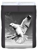 Red Billed Seagull In Black And White Duvet Cover
