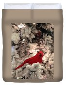 Red Bird In A Snow Covered Tree Duvet Cover