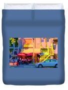 Red Bistro Umbrellas Cafe Cote Soleil Rue St Denis Yellow Staircase Montreal Scenes Carole Spandau Duvet Cover