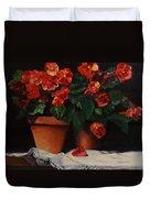 Red Bloom In Terracotta Duvet Cover