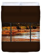 Red Boat At Low Tide Triptych Duvet Cover