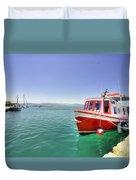 Red Boat At Nafplion Harbour Duvet Cover