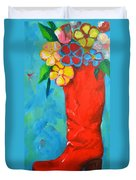 Red Boot With Flowers Duvet Cover