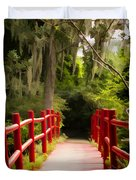 Red Bridge In Southern Plantation Duvet Cover