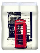 Red British Telephone Booth Duvet Cover